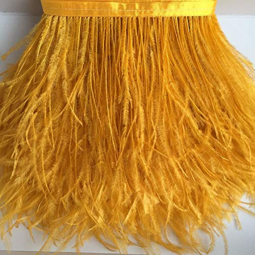 KOLIGHT Gefärbte Straußenfedern, natürlich, ca. 10-15 cm, Fransenborte für selbstgemachtes Kleid, zum Nähen, Basteln, für Kostüme, Dekoration, Packung mit 1,8 m gold