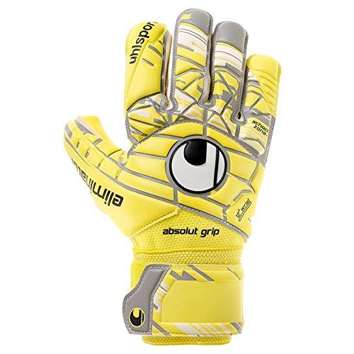 uhlsport Herren Elm Unlimited Absolutgrip HN Torwart-Handschuhe, Lite Fluo Gelb/Griffin Grau/Weiß, 9.0