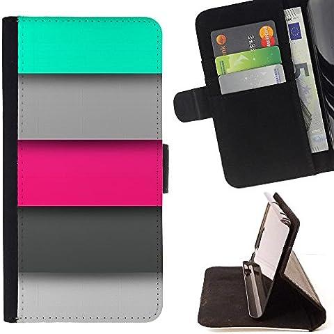 All Phone Most Case / Cellulare Smartphone cassa del cuoio della calotta di protezione di caso Custodia protettiva per SAMSUNG GALAXY A9 // pastel pink grey mint green lines pattern