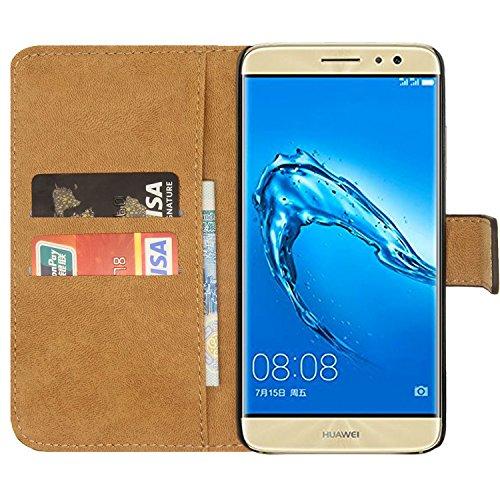 Ambaiyi Flip Echt Ledertasche Handyhülle Brieftasche Hülle Schutzhülle für Huawei Nova Plus , Nova Plus Hülle , Schwarz