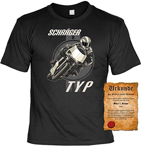 Biker T-Shirt Schräger Typ Shirt 4 Heroes Geburtstag Geschenk geil bedruckt mit Biker-Urkunde Schwarz