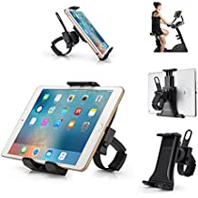 "AboveTEK bicicleta todo en uno Soporte para iPad / iPhone Soporte para tableta compacto portátil para gimnasia interior Brazalete para bicicletas y cintas para correr, Soporte giratorio ajustable de 360 ° para tabletas de 3.5-12 ""/ teléfonos celulares"