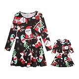 MCYs Weihnachten Baby Kleidung Retro Outfits Set Familie Weihnachten Mama Kinder Mädchen Cartoon Print Prinzessin Kleid Partykleid Cocktail (120, Tochter)