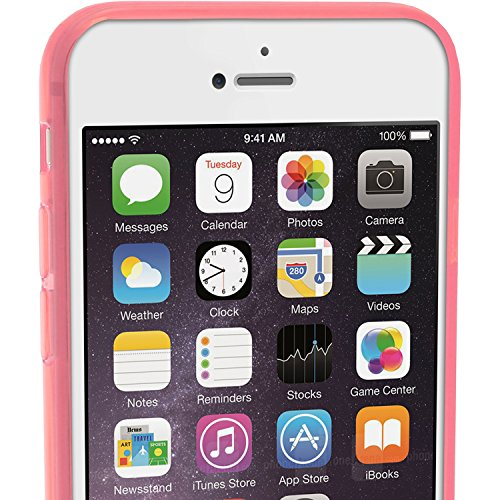 igadgitz Solides Schwarz Glänzend Etui Tasche Hülle Gel TPU für Apple iPhone 7 & 8 4.7 Zoll Case Cover + DisplayschutzDolie Transparent Pink