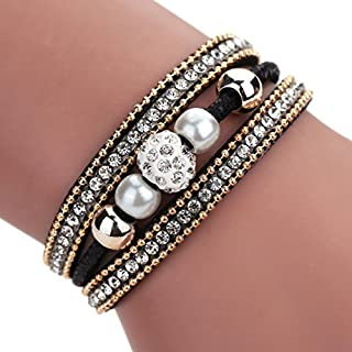 AutumnFall Women Bohemian Bracelet Woven Braided Handmade Wrap Cuff Magnetic Clasp (Black)