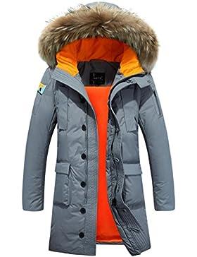 MHGAO Abajo chaqueta con capucha del abrigo de pieles del collar de los hombres largos de invierno , green gray...