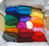 Filzwolle Vlies in bunten Fetzen - 25 Farben, insgesamt ca. 100 Gramm plus 2 Knäuel Merino Filzwolle