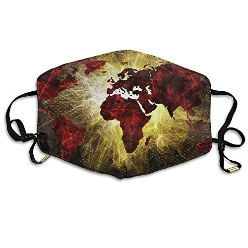 ßenmaske Global World Map Printed Mouth Masks Unisex Anti-dust Masks Reusable Face Mask Soft and Breathable for Men Women Fashion Anime Black Nose Disposable Rave ()