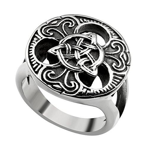 PiercingJ - Bijoux Bague Anneaux Retro Vintage Celtic Celtique Noeuds Magique Irlandais Motard Biker Tribal Classique Acier Inoxydable Gothique Punk Rock Femme Homme US13
