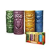 MikaMax - Tiki Mugs Set - Bicchierini Tiki Set di 4 - Tiki Cocktail Mai Tai - Bicchieri da Cocktail - Cocktail Tiki -- Tazze in Ceramica - 29 x 8 x 15 cm - Tiki Drinks - Cocktail Glasses