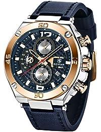 BENYAR hombres reloj cronógrafo de cuarzo Fecha 3 ATM impermeable relojes Economía Deportes cuero de diseño de reloj de pulsera para hombres Padre