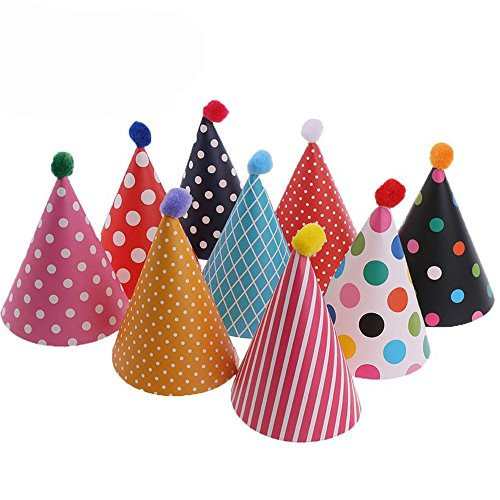 e,Party Kegel Hüte mit Pom Poms,Schöne Kuchen Kegel Geburtstag Papier Hüte, schöne Krone, für Kinder und Erwachsene, Spaß Geburtstag Party Hüte ()