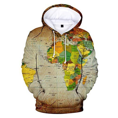 Xmiral Kapuzenpullover Herren 3D Landkarte Drucken Langärmeliges Hoodie Sweatshirt mit Tasche Tunnelzug Herbst Outdoor Sportbekleidung mit Kapuze(h Beige,L) Blue Micro Performance Fleece