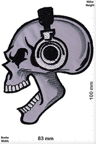 Patch - Totenkopf Kopfhörer - DJ - Oldschool - Oldschool - Rockabilly - Tatoo - Old School Punk Rocks- Patches - Aufnäher Embleme Bügelbild Aufbügler