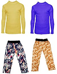 IndiStar Boys Combo Pack For Winter(Pack of 2 Printed Lower and 2 Wollen Full Sleeves T-Shirt/Inner/Skivvy )_Yellow::Blue::Multicolor_3-4 Years_360171810110-0205-IW-P4-24