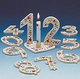 Geburtstag-Deko Zahl 5 Tischdeko Weiss-grün-rot 6x9cm Einheitsgröße