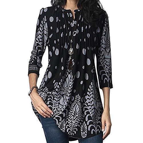 unika Tops 3/4 lange Ärmel beiläufige lose Blumenbluse Button Up Print Shirts(XXL,Black) ()