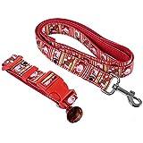 SHUFAGN,Zwei Weihnachtsmuster Haustier führenden Gürtel Hund Halskette und Glöckchen Bell(Color:ROT,Size:L)