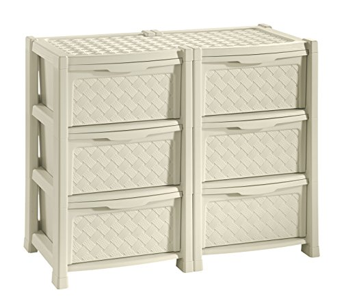 Tontarelli arianna cassettiera con 6 cassetti doppia, angora, 78x49.5x63.5 cm
