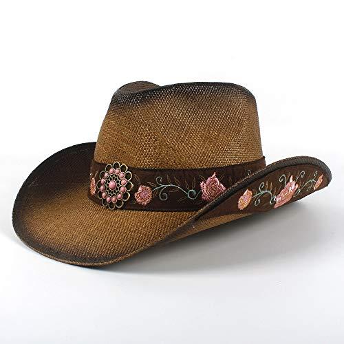 LIWIN 2019 Mode 7 Style 100% Leder Herren Western Cowboy Hut for Papa Gentleman Sombrero Jazz Caps Outdoor UV Sonnenschutz (Farbe : 5, Größe : 58-59cm) -
