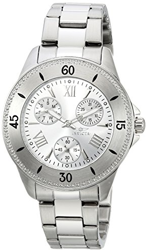 Invicta Women's 'Angel' Quartz Stainless Steel Casual Watch, Color:Silver-Toned (Model: 21682)