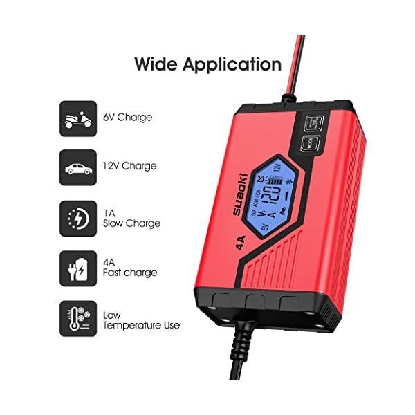 SUAOKI – Cargador de Baterias Coche, Moto, 4A, 6/12V, Mantenimiento Automático e Inteligente, 8 Cargas Etapas…