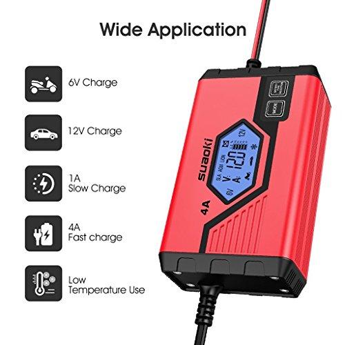 SUAOKI - Cargador de Baterias Coche, Moto, 4A, 6/12V, Mantenimiento Automático e Inteligente, 8 Cargas Etapas Identificación, Carga Segmentada con Múltiples Protecciones Para Coche, Camión, Moto