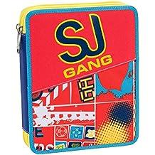 ASTUCCIO scuola SEVEN MAXI - SJ BOY - 2 scomparti - pennarelli matite gomma ecc.. Arancione Blue - 12 Di Plastica Trasparente Righello