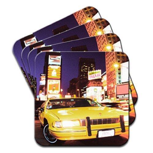 Yellow taxi cab in New Yorks Times Square USA set di 4 sottobicchieri in legno di alta qualità