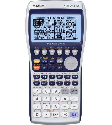 Casio FX-9860GII - Calculadora gráfica (128 x 64 pixeles, Flash, SD), color blanco y azul