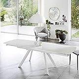 Pharao24 Ausziehbarer Tisch in Weiß Glasplatte