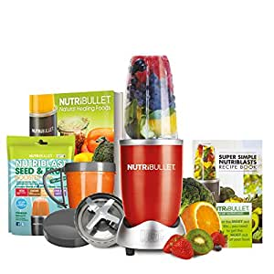 NutriBullet Red 600 Series 8-Piece Set Juicer, Blender with FREE Natural Healing Foods Book and NutriBlast Seed and Fruit (Red) (As Seen on High Street TV)