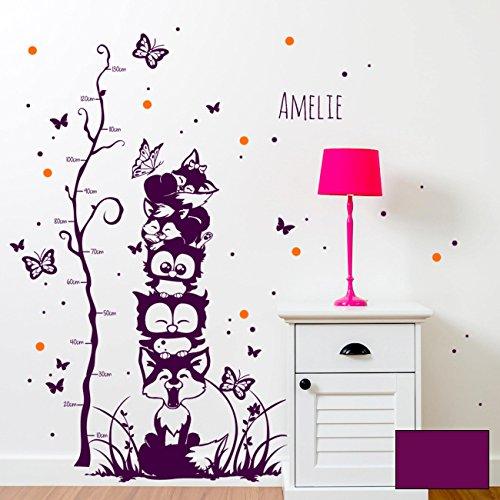Adesivo da parete gufi volpi farfalle punti metro per bambini Bicolore m1732b Lavanda