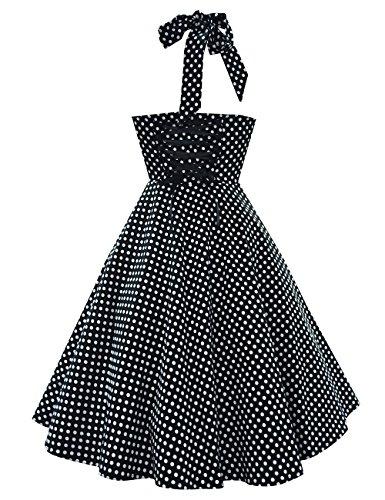 Là Vestmon Ärmellos Neckholder Faltenrock Rockabilly 50s Vintage Retro Kleid Knielang Petticoat Schwarz