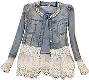 Women Casual Jeans Jacket Fashion Pearl Long Sleeve Coat Size XXL