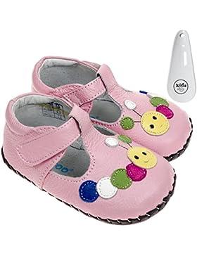 FREYCOO Zapatos de Bebé Para Niñas de Piel Auténtica Suela Suave Rosa con Diseño de Caterpillar y Velcro – con...