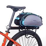 ROSWHEEL Fahrrad Gepäcktasche Satteltasche Gepäckträger Tasche Fahrradtasche Pack Bag (Grau mit Blau)