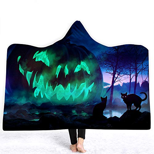 YEARGER Halloween Kuscheldecke für Erwachsene Kinder Kürbis Dekoration Kapuzendecke Wearable Decke Mikrofaser Fleece Sofa Warm Decke 150 * 200cm