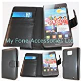 Black PU Leather Book Flip Card Holder Wallet Case Cover Pouch For Samsung Galaxy S2 / S ii / i9100 From My Fone UK