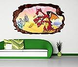 3D Wandtattoo Ritter Prinz dreiköpfige Drache Kinderzimmer selbstklebend Wandbild Tattoo Wand Aufkleber 11L250, Wandbild Größe F:ca. 162cmx97cm