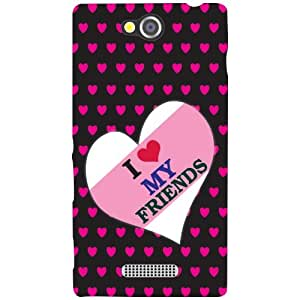 Sony Xperia C Phone Cover - I Love My Friends Matte Finish Phone Cover