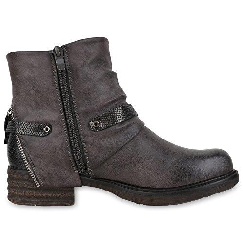 napoli-fashion Damen Biker Boots Stiefeletten Prints Profil Sohle Block Absatz Grau