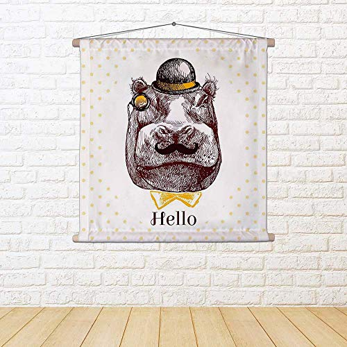 ArtzFolio Hippopotamus Head Silk Painting Tapestry Scroll Art Hanging 30 X 30Inch -