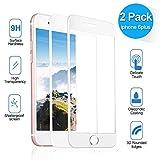 NONZERS Panzerglasfolie für iPhone 6Plus/6s Plus,[2 Stück] 9H Härtegrad Ultra-Klar Vollständige Abdeckung Anti-Öl, Kratzer und Fingerabdrücke Blasenfrei Displaychutzfolie (White)