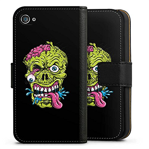 Apple iPhone X Silikon Hülle Case Schutzhülle Zombie Halloween Gruselig Sideflip Tasche schwarz