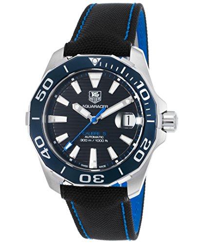 TAG Heuer Aquaracer–Reloj automático negro Nylon y esfera azul de punto de contraste de la way211b-fc6363Hombres