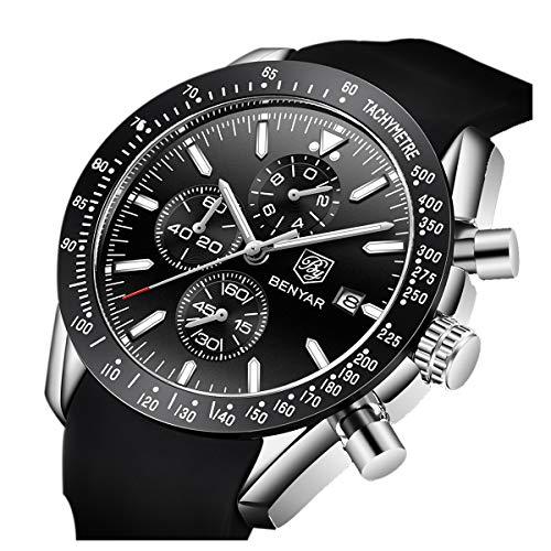 Orologio cronografo per uomo braccialetto in silicone quadrante Nero lusso...