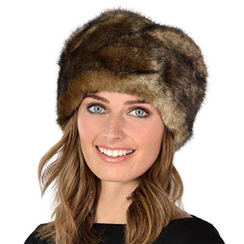 Damen Russischer Kosakenhut Pelzimitat Hut Mütze Winter Warm und Weich - Grau (Russischen Hut Für Frauen)