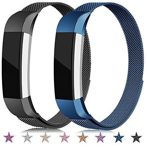 Onedream Kompatibel für Fitbit Alta Hr Ace Armband Damen Herren Metall Edelstahl Ersatzarmband Uhrenarmband Zubehör Kompatibel für Fitbit Alta Hr/Alta Blau Schwarz Große