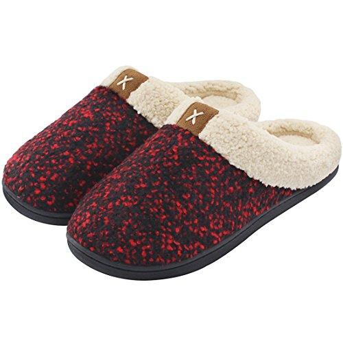 Zapatillas de Espuma viscoelástica para Mujer con Forro Polar de Lana con Interior y Suela de Goma Antideslizante para Exteriores, Color Rojo, Talla 40/41 EU
